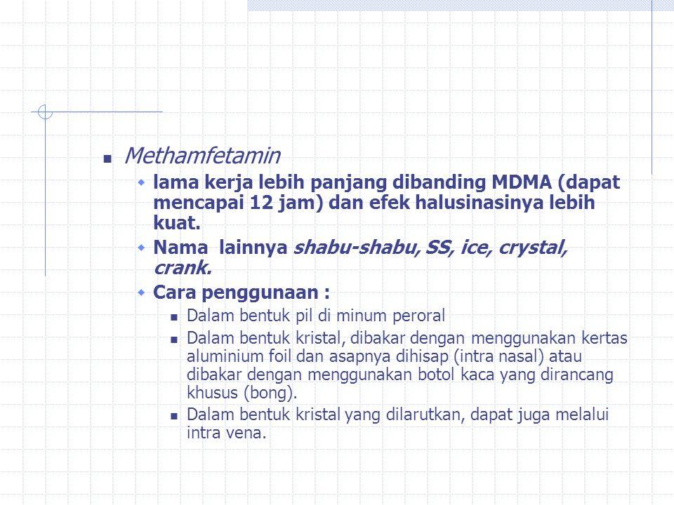 Methamfetamin lama kerja lebih panjang dibanding MDMA (dapat mencapai 12 jam) dan efek halusinasinya lebih kuat.
