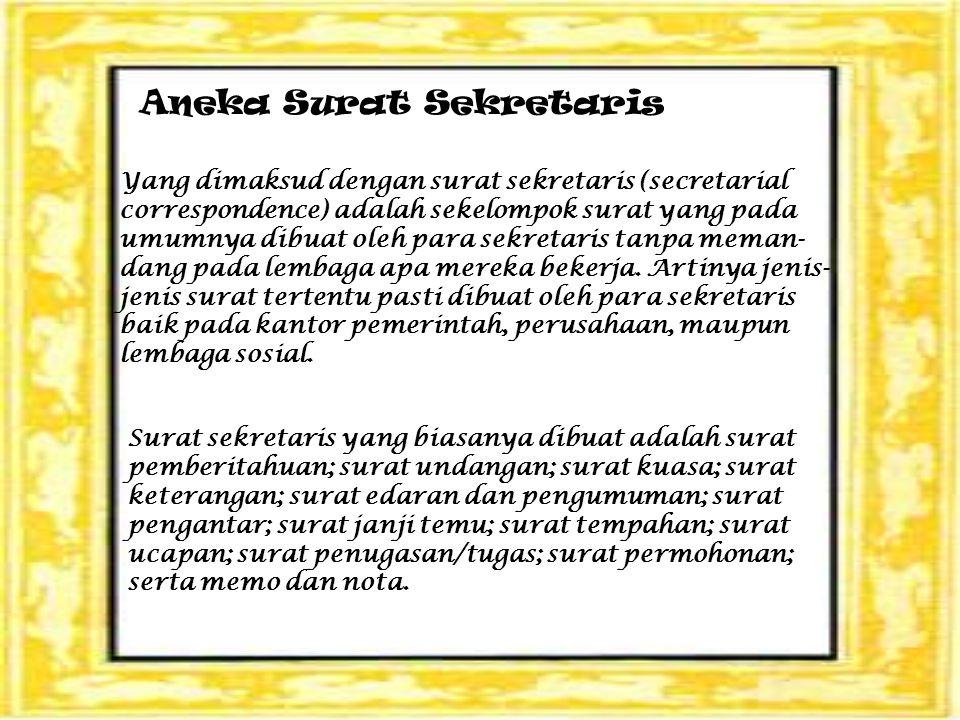 Aneka Surat Sekretaris