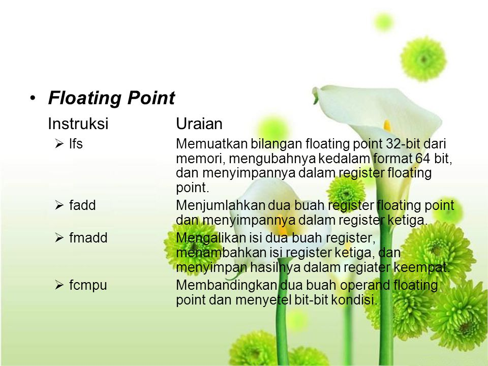 Floating Point Instruksi Uraian