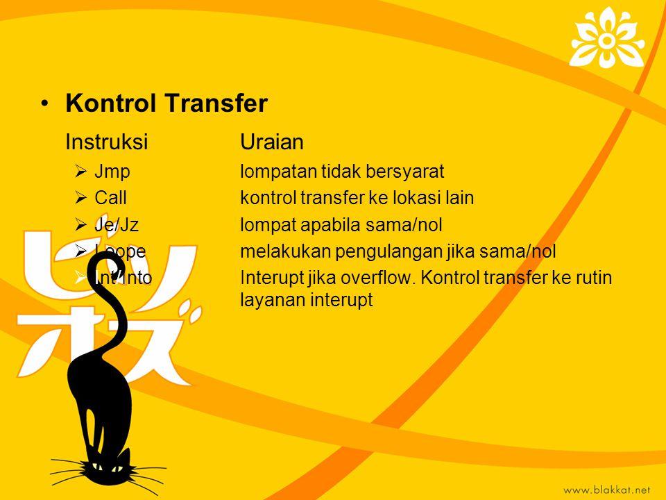 Kontrol Transfer Instruksi Uraian Jmp lompatan tidak bersyarat