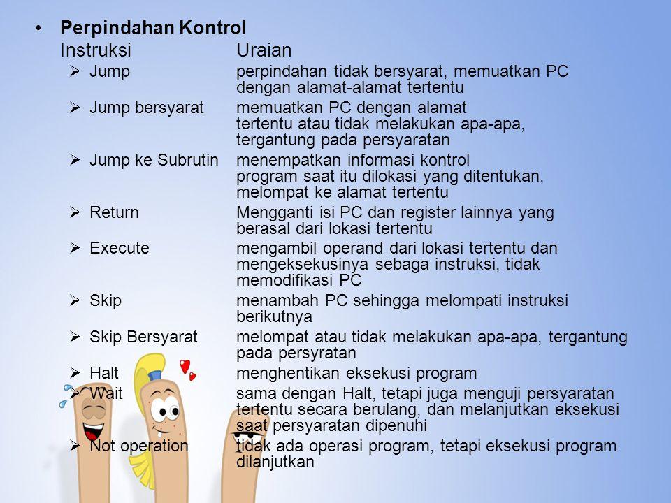 Perpindahan Kontrol Instruksi Uraian. Jump perpindahan tidak bersyarat, memuatkan PC dengan alamat-alamat tertentu.
