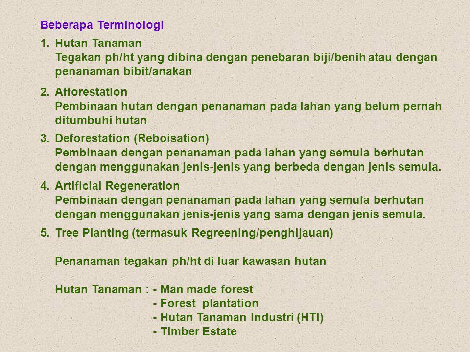 Beberapa Terminologi 1. Hutan Tanaman. Tegakan ph/ht yang dibina dengan penebaran biji/benih atau dengan.