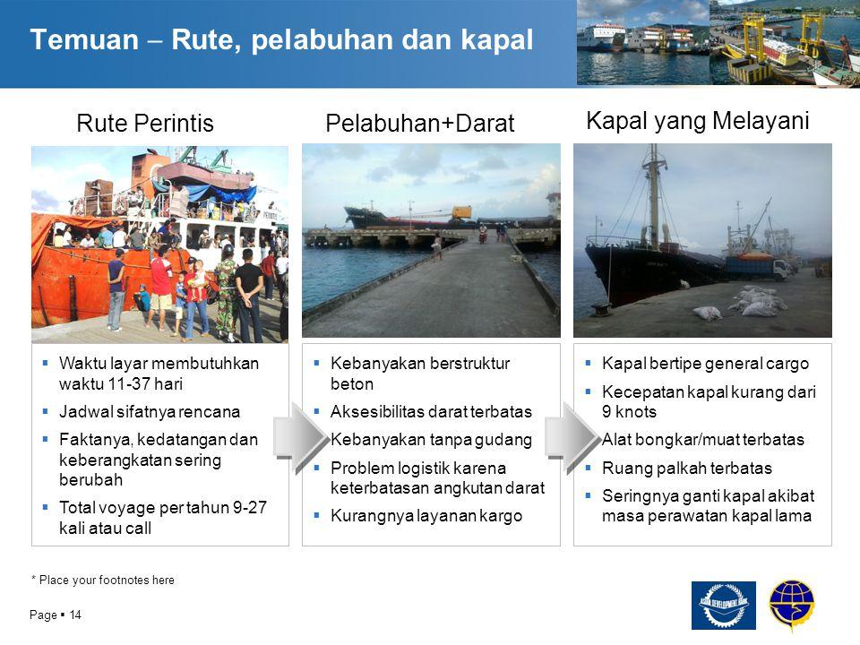 Temuan  Rute, pelabuhan dan kapal