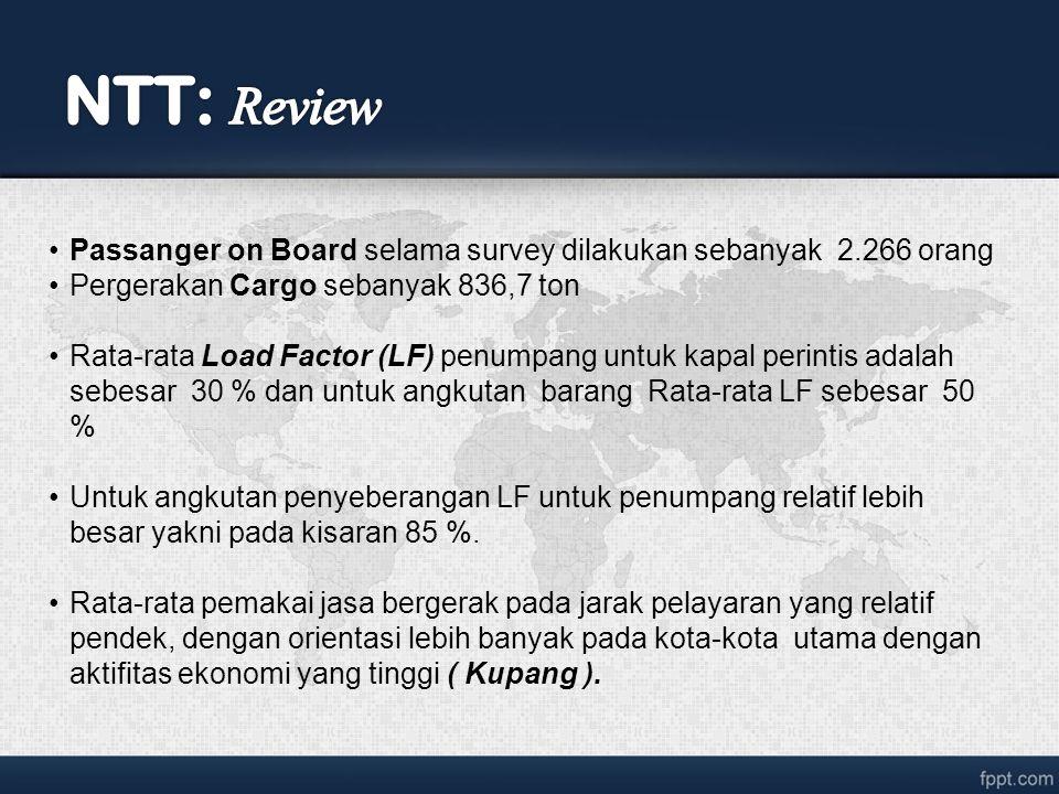 NTT: Review Passanger on Board selama survey dilakukan sebanyak 2.266 orang. Pergerakan Cargo sebanyak 836,7 ton.