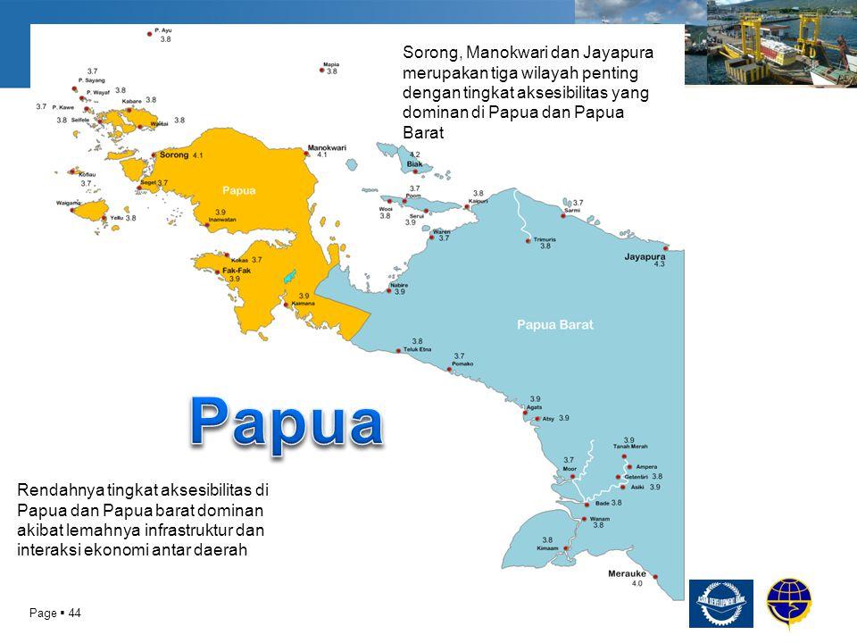 Sorong, Manokwari dan Jayapura merupakan tiga wilayah penting dengan tingkat aksesibilitas yang dominan di Papua dan Papua Barat