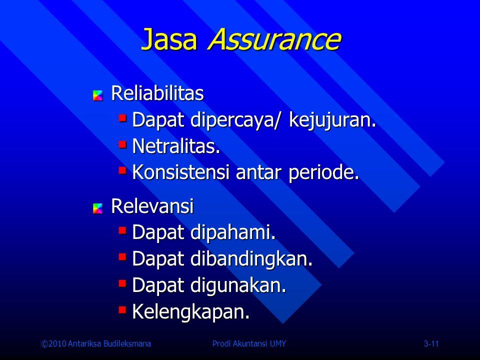 Jasa Assurance Reliabilitas Dapat dipercaya/ kejujuran. Netralitas.