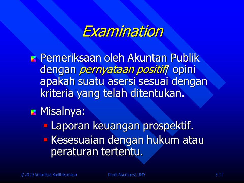 Examination Pemeriksaan oleh Akuntan Publik dengan pernyataan positif/ opini apakah suatu asersi sesuai dengan kriteria yang telah ditentukan.