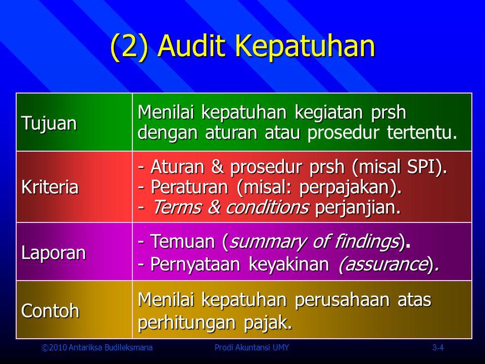(2) Audit Kepatuhan Tujuan