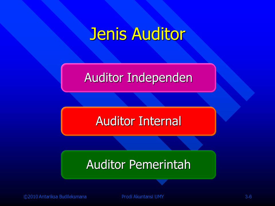 Jenis Auditor Auditor Independen Auditor Internal Auditor Pemerintah
