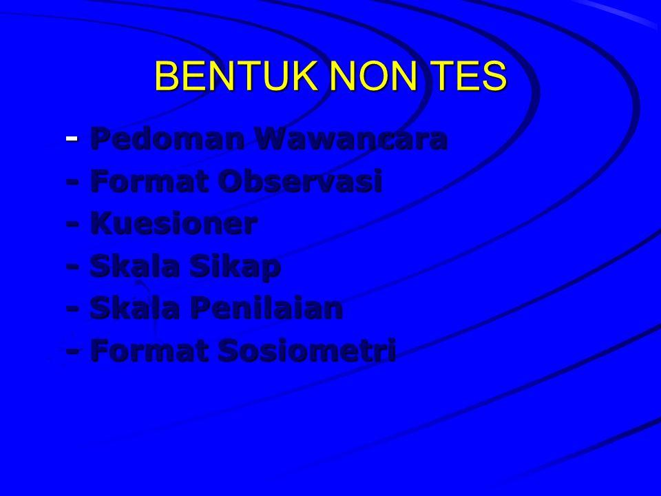 BENTUK NON TES - Pedoman Wawancara - Format Observasi - Kuesioner - Skala Sikap - Skala Penilaian - Format Sosiometri