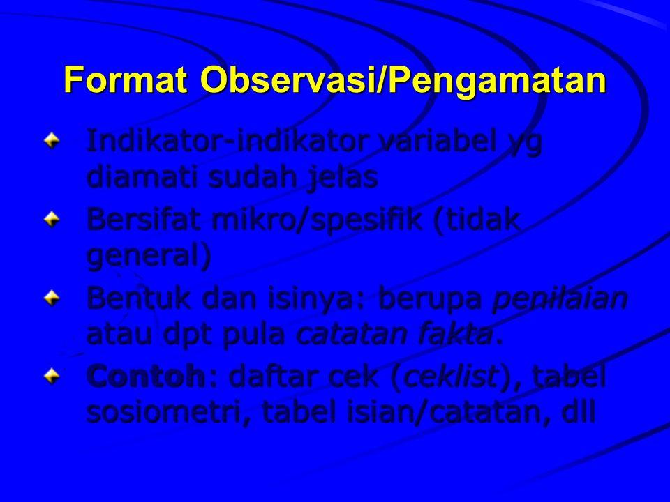 Format Observasi/Pengamatan