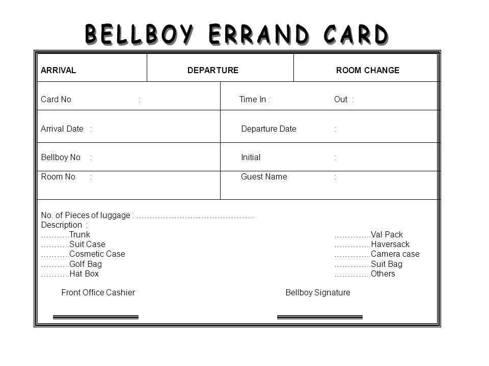BELLBOY ERRAND CARD ARRIVAL DEPARTURE ROOM CHANGE