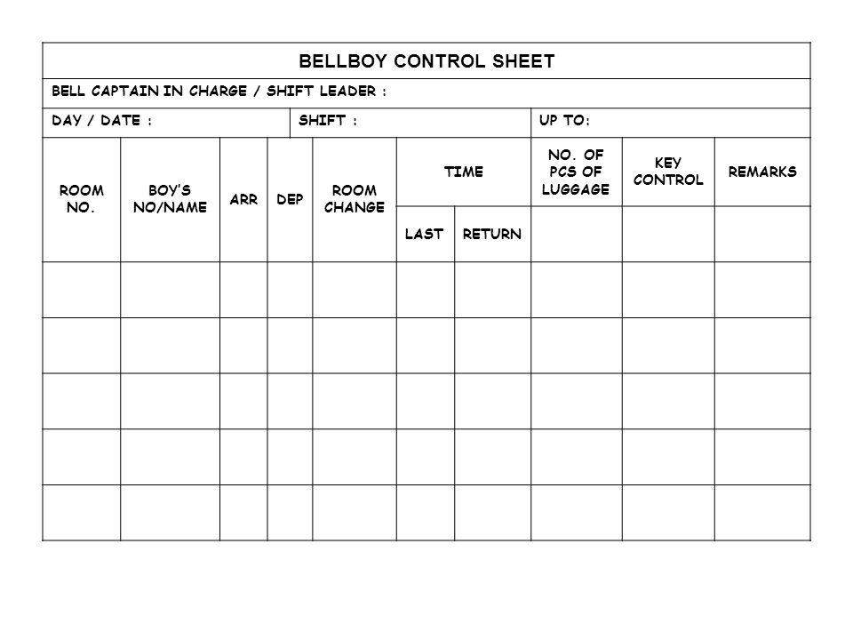 BELLBOY CONTROL SHEET BELL CAPTAIN IN CHARGE / SHIFT LEADER :