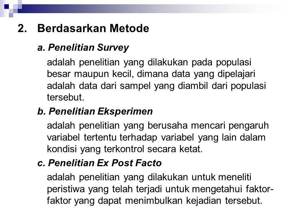 a. Penelitian Survey 2. Berdasarkan Metode