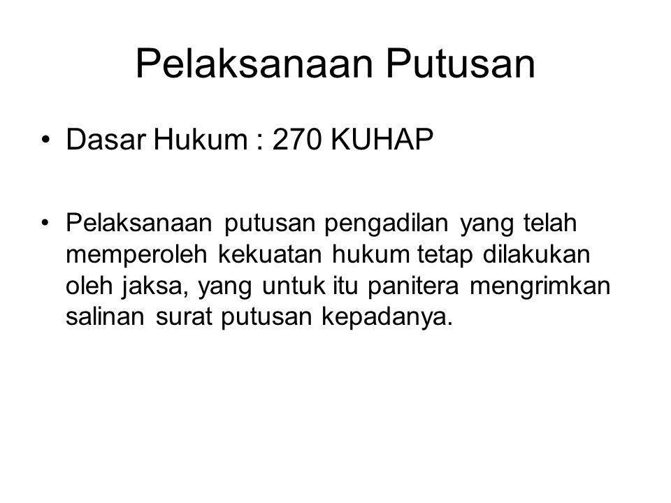 Pelaksanaan Putusan Dasar Hukum : 270 KUHAP