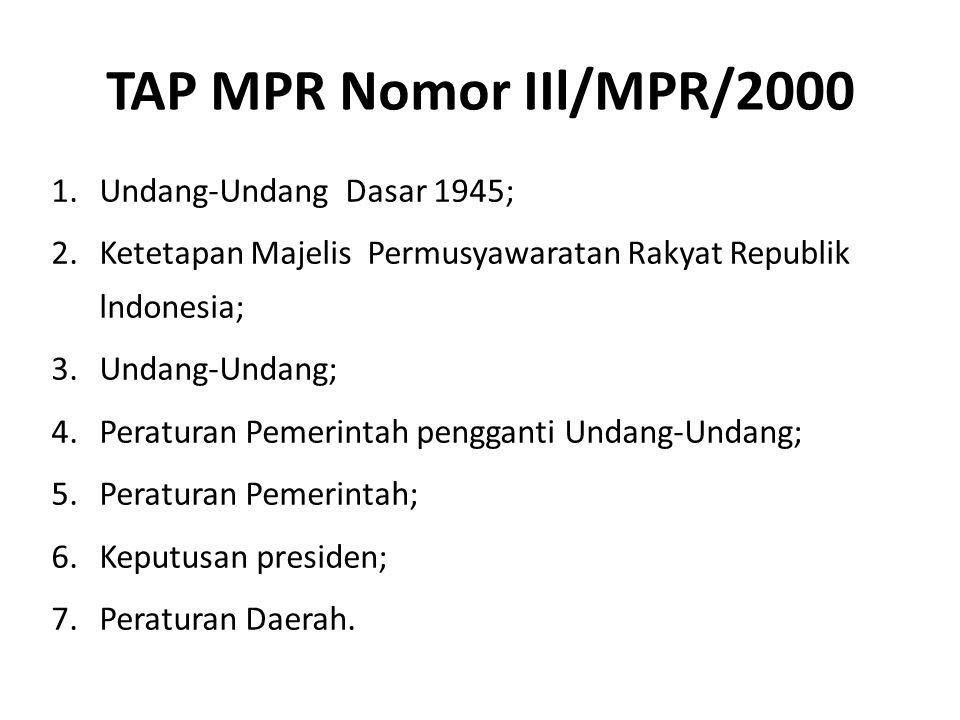 TAP MPR Nomor IIl/MPR/2000 Undang-Undang Dasar 1945;