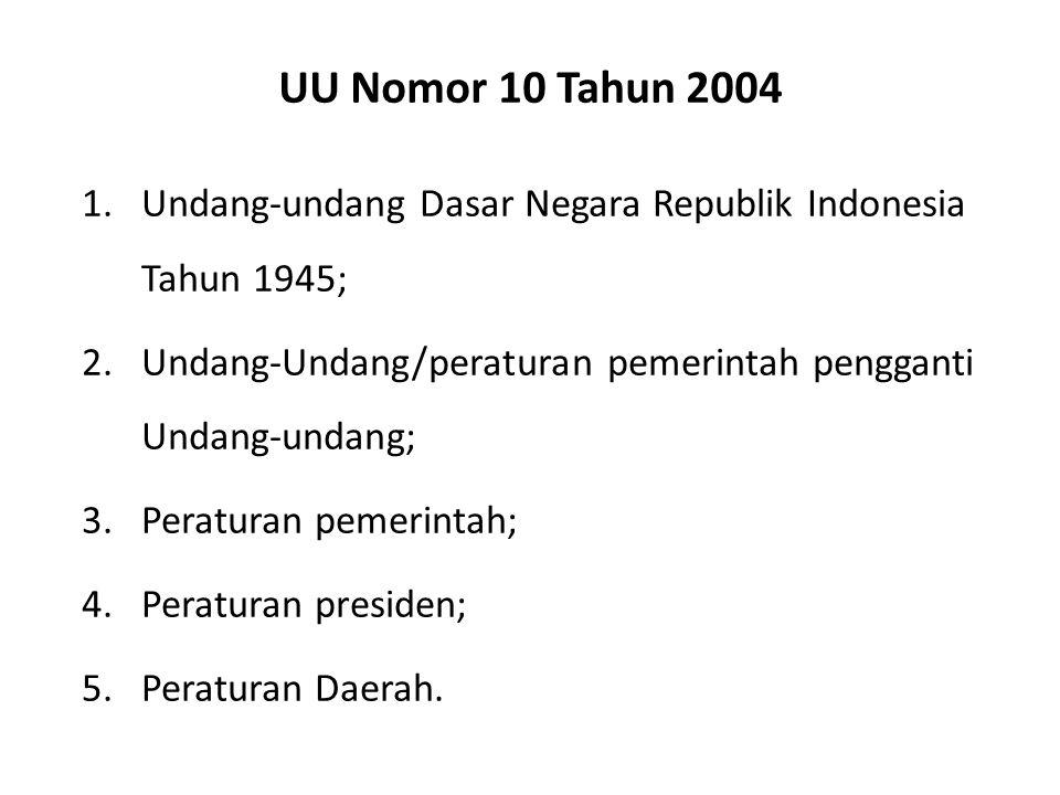 UU Nomor 10 Tahun 2004 Undang-undang Dasar Negara Republik Indonesia Tahun 1945; Undang-Undang/peraturan pemerintah pengganti Undang-undang;