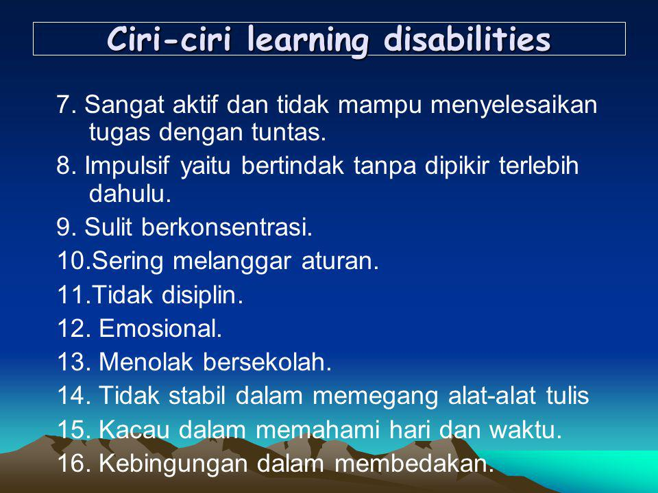 Ciri-ciri learning disabilities