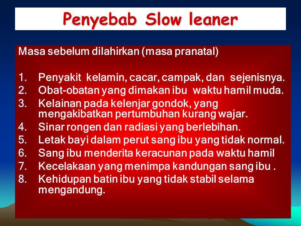 Penyebab Slow leaner Masa sebelum dilahirkan (masa pranatal)