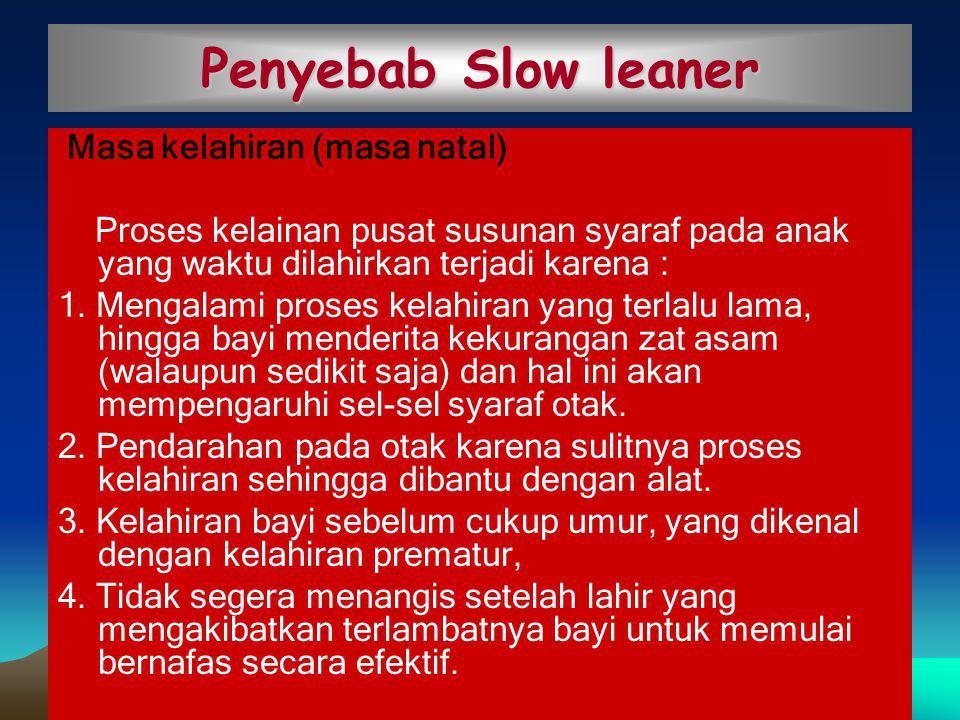 Penyebab Slow leaner Masa kelahiran (masa natal)