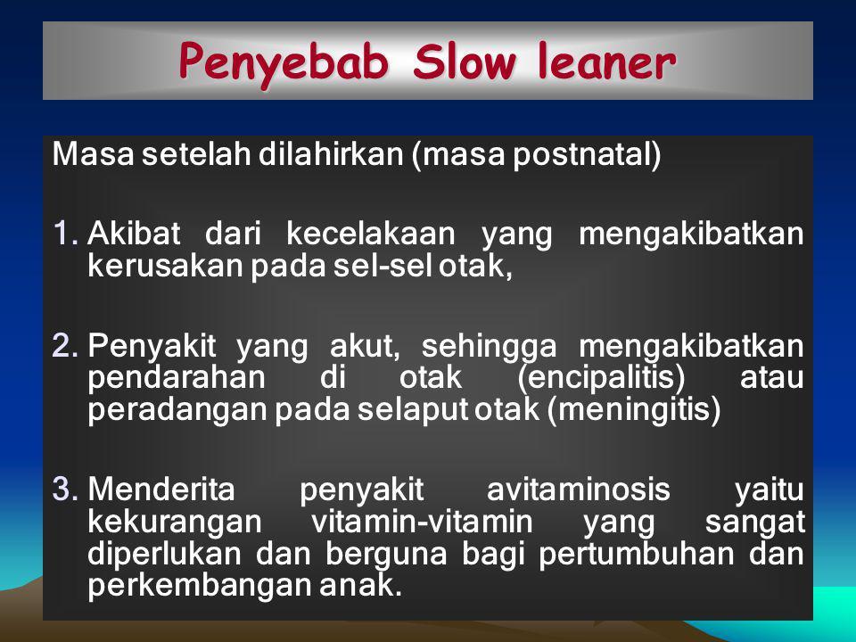 Penyebab Slow leaner Masa setelah dilahirkan (masa postnatal)