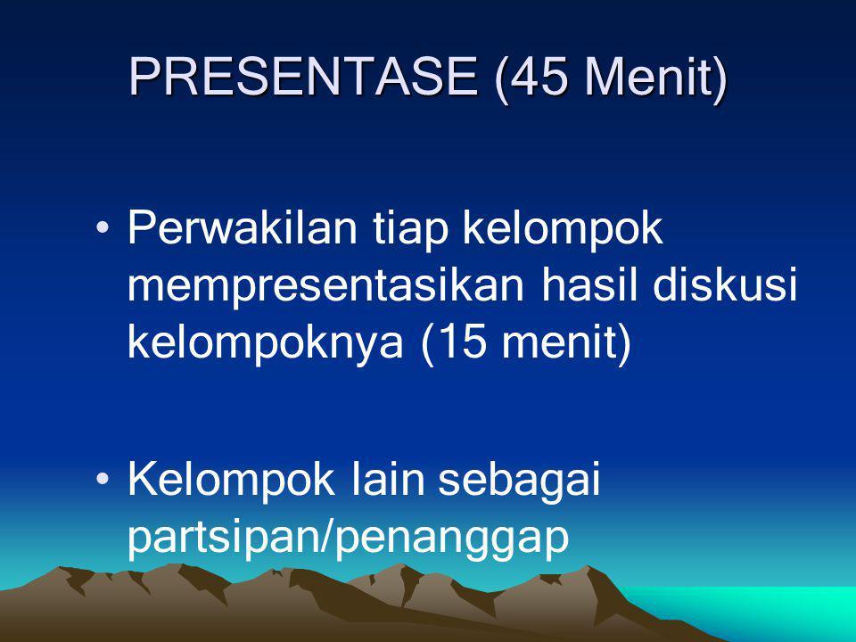 PRESENTASE (45 Menit) Perwakilan tiap kelompok mempresentasikan hasil diskusi kelompoknya (15 menit)