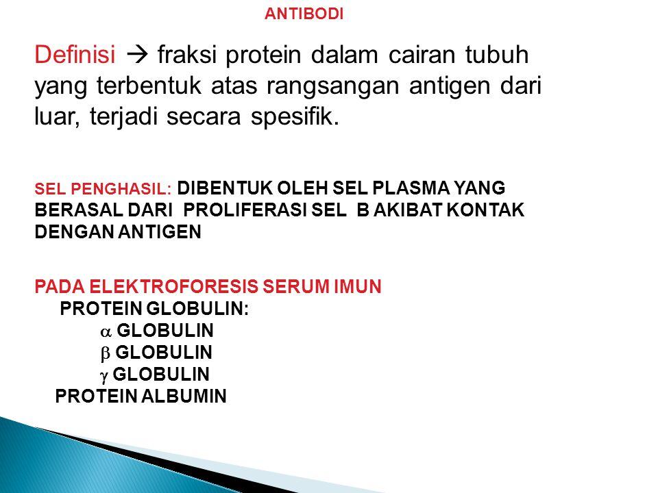 ANTIBODI Definisi  fraksi protein dalam cairan tubuh yang terbentuk atas rangsangan antigen dari luar, terjadi secara spesifik.
