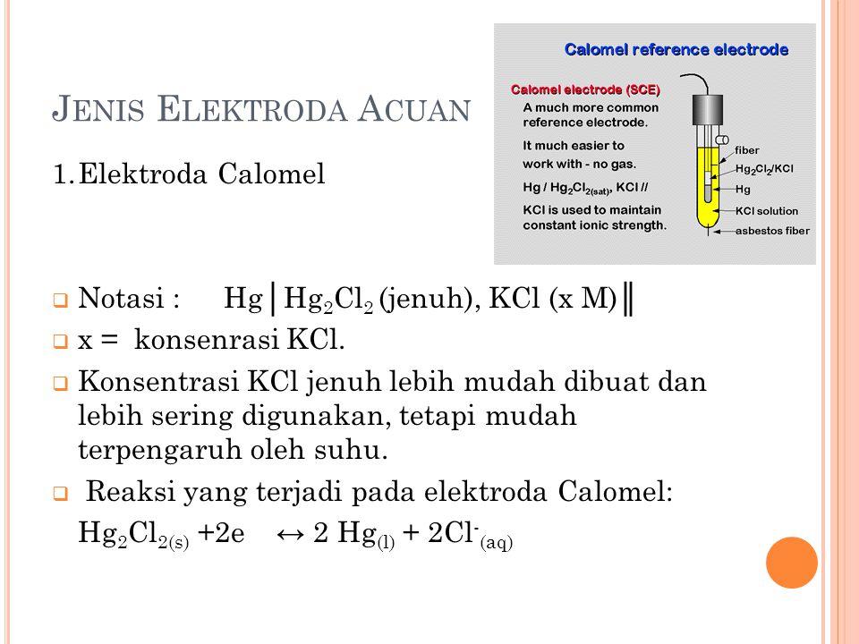 Jenis Elektroda Acuan 1. Elektroda Calomel
