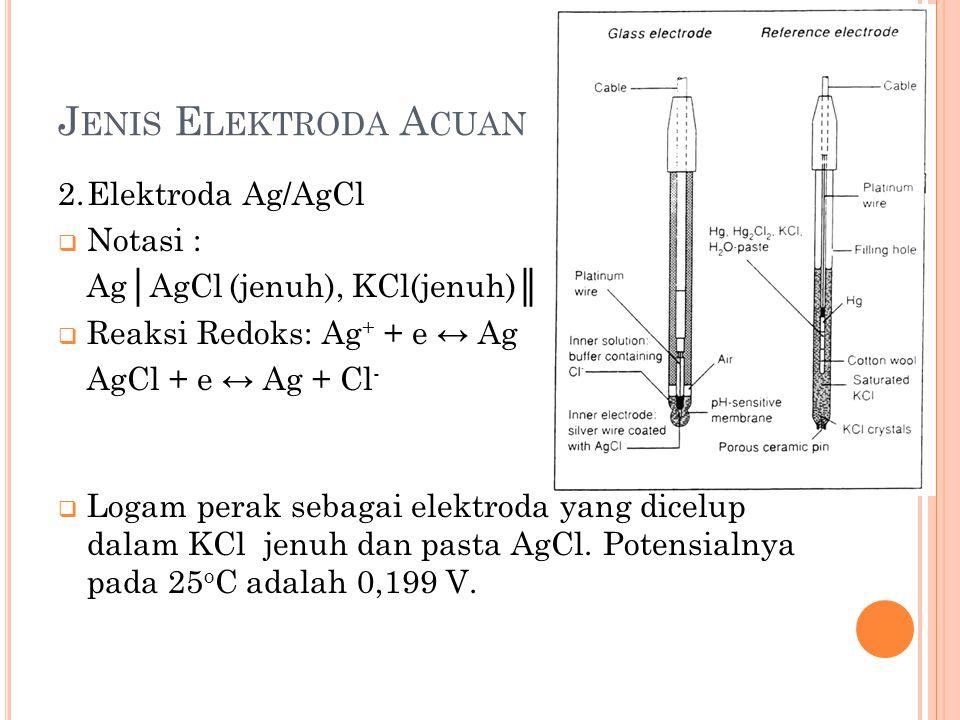 Jenis Elektroda Acuan 2. Elektroda Ag/AgCl Notasi :