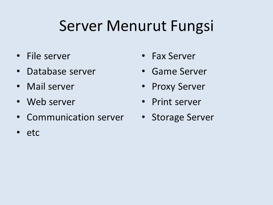 Server Menurut Fungsi File server Database server Mail server