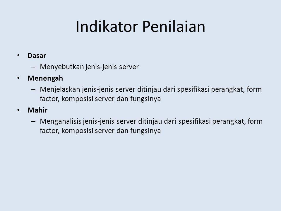 Indikator Penilaian Dasar Menyebutkan jenis-jenis server Menengah