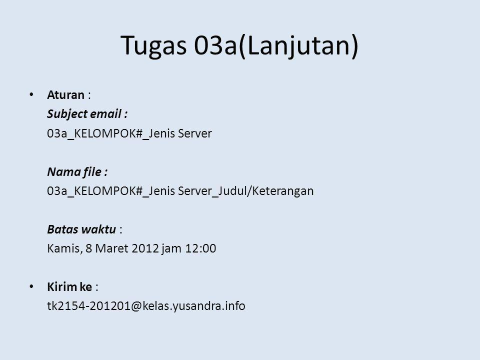 Tugas 03a(Lanjutan) Aturan : Subject email :