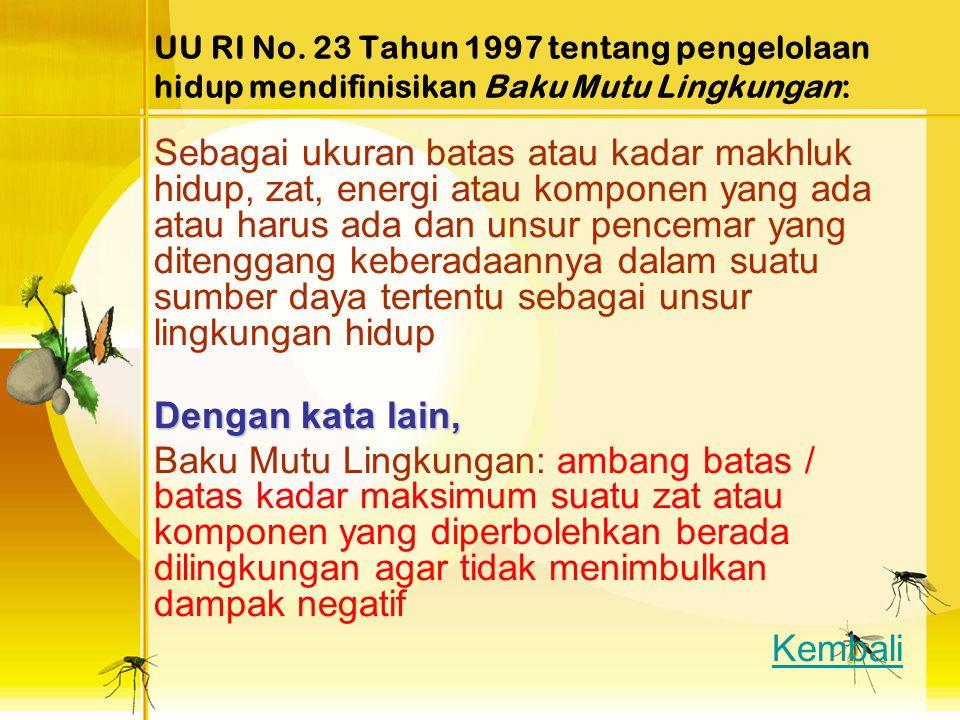 UU RI No. 23 Tahun 1997 tentang pengelolaan hidup mendifinisikan Baku Mutu Lingkungan: