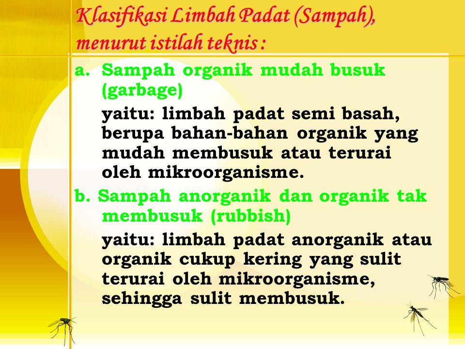 Klasifikasi Limbah Padat (Sampah), menurut istilah teknis :