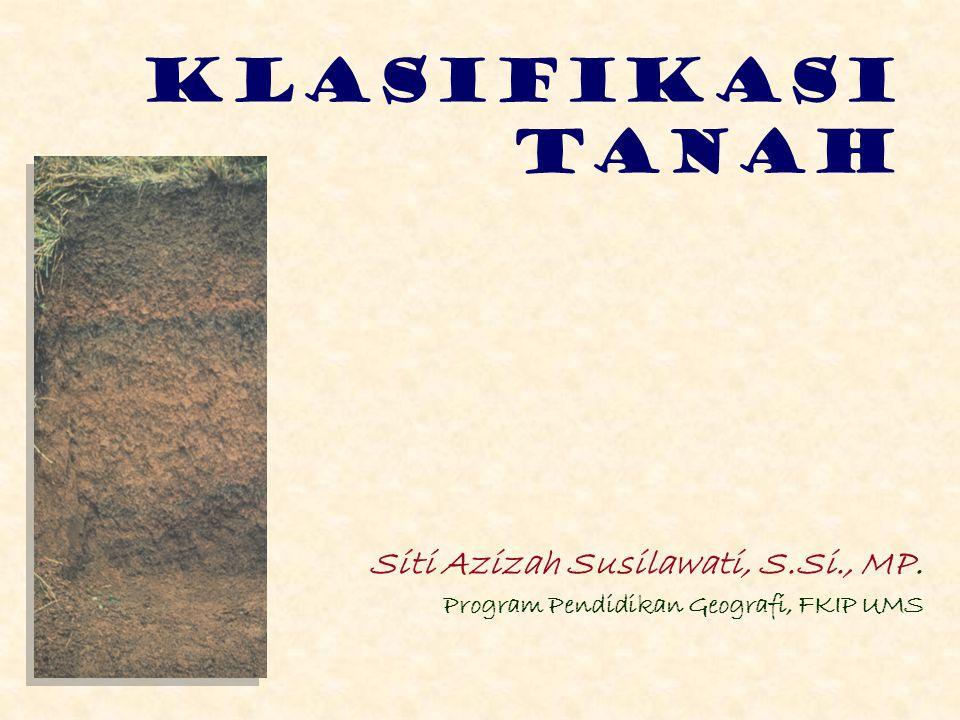 KLASIFIKASI TANAH Siti Azizah Susilawati, S.Si., MP.