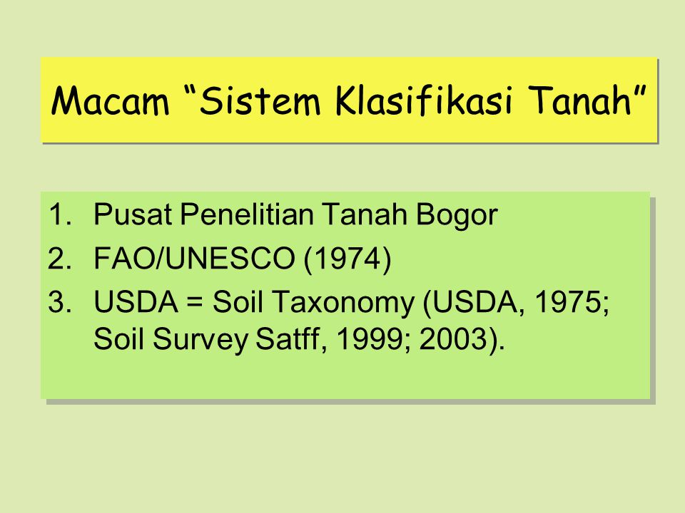 Macam Sistem Klasifikasi Tanah