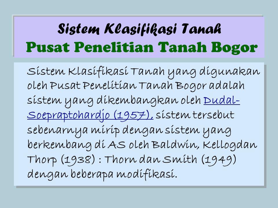 Sistem Klasifikasi Tanah Pusat Penelitian Tanah Bogor