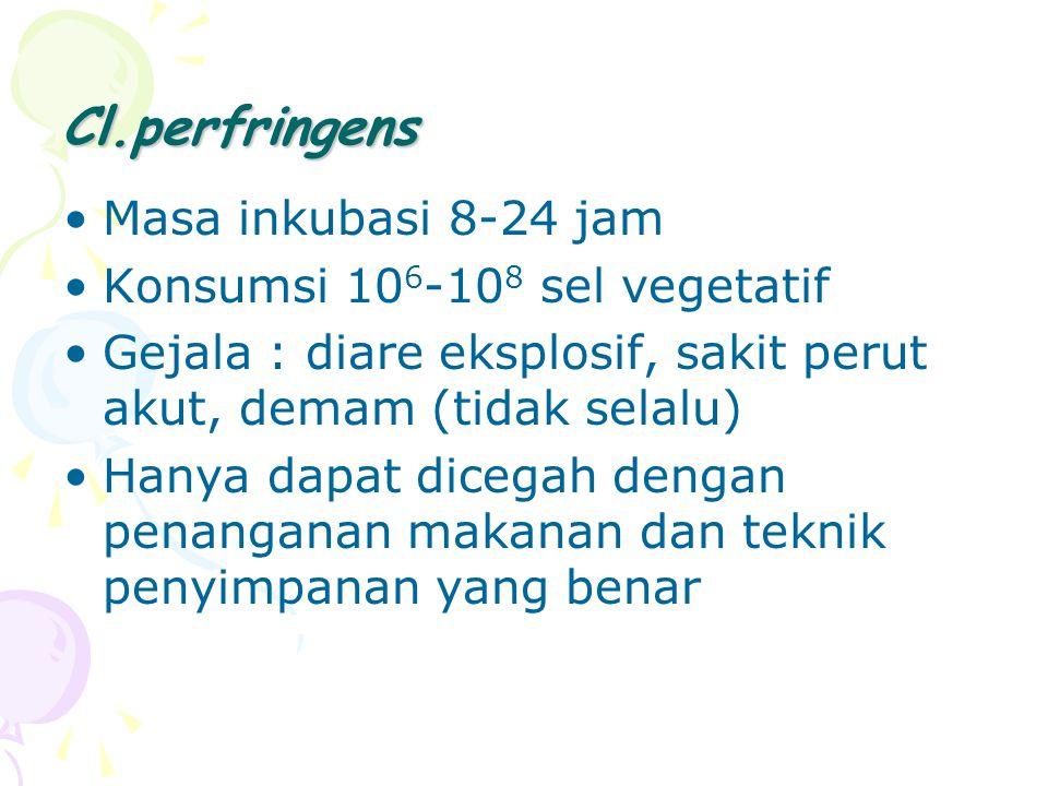 Cl.perfringens Masa inkubasi 8-24 jam Konsumsi 106-108 sel vegetatif