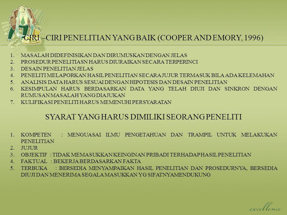 CIRI –CIRI PENELITIAN YANG BAIK (COOPER AND EMORY, 1996)