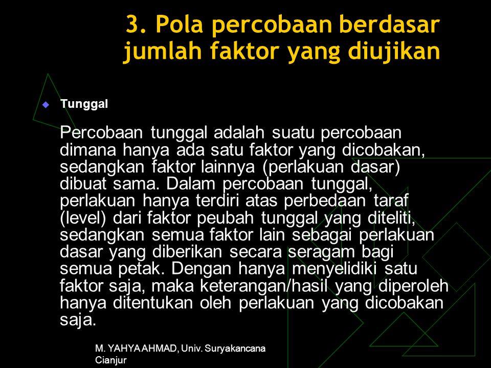 3. Pola percobaan berdasar jumlah faktor yang diujikan