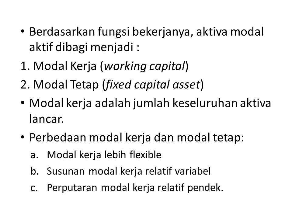 Berdasarkan fungsi bekerjanya, aktiva modal aktif dibagi menjadi :