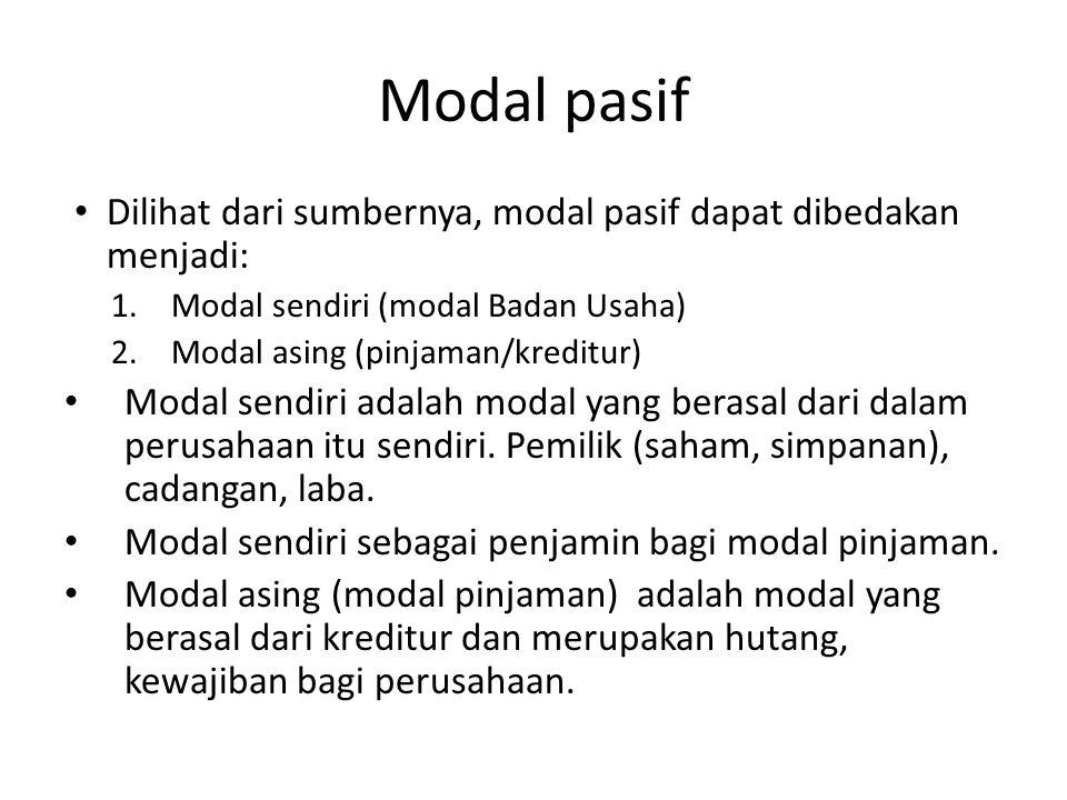 Modal pasif Dilihat dari sumbernya, modal pasif dapat dibedakan menjadi: Modal sendiri (modal Badan Usaha)