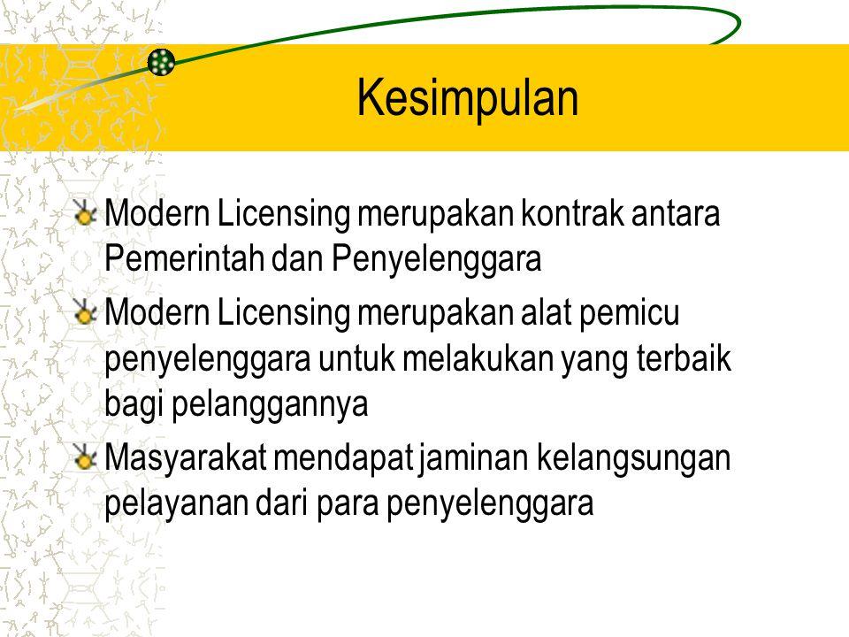Kesimpulan Modern Licensing merupakan kontrak antara Pemerintah dan Penyelenggara.