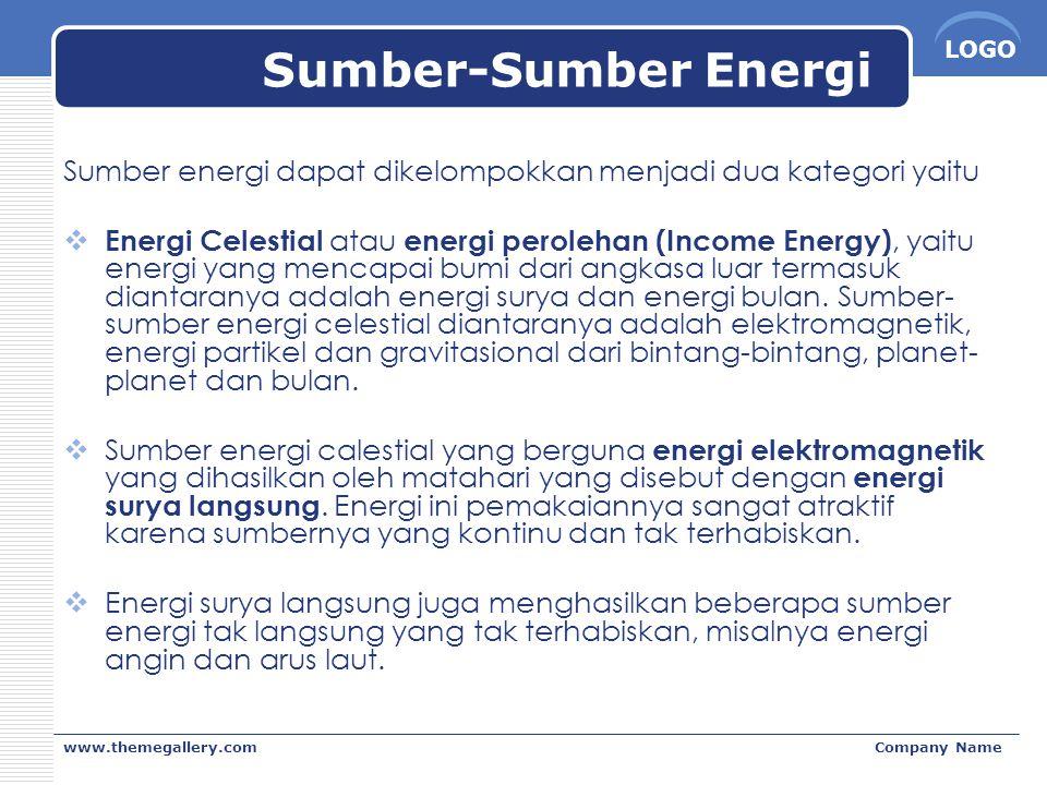 Sumber-Sumber Energi Sumber energi dapat dikelompokkan menjadi dua kategori yaitu.