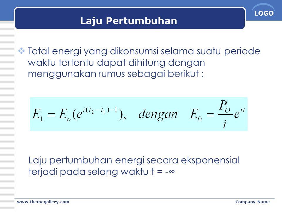 Laju Pertumbuhan Total energi yang dikonsumsi selama suatu periode waktu tertentu dapat dihitung dengan menggunakan rumus sebagai berikut :