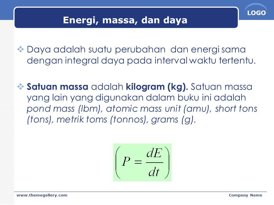 Energi, massa, dan daya Daya adalah suatu perubahan dan energi sama dengan integral daya pada interval waktu tertentu.