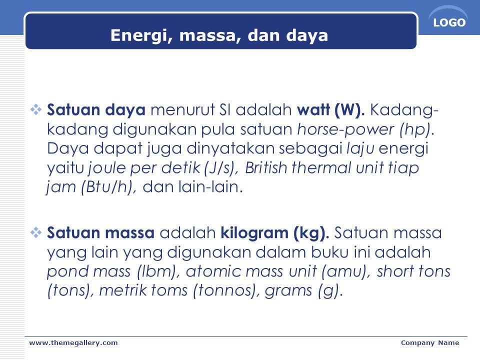 Energi, massa, dan daya