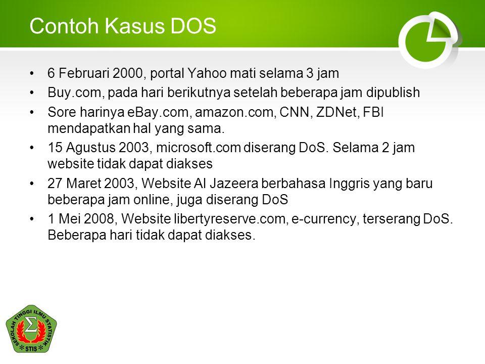 Contoh Kasus DOS 6 Februari 2000, portal Yahoo mati selama 3 jam