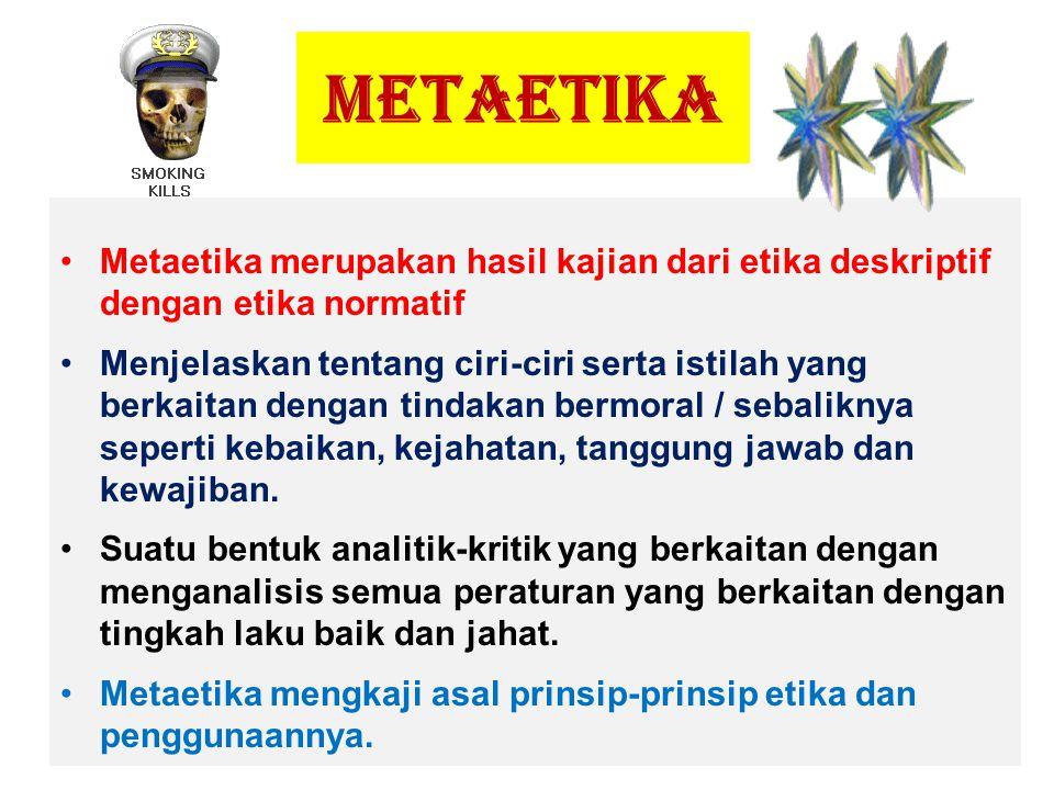 METAETIKA Metaetika merupakan hasil kajian dari etika deskriptif dengan etika normatif.