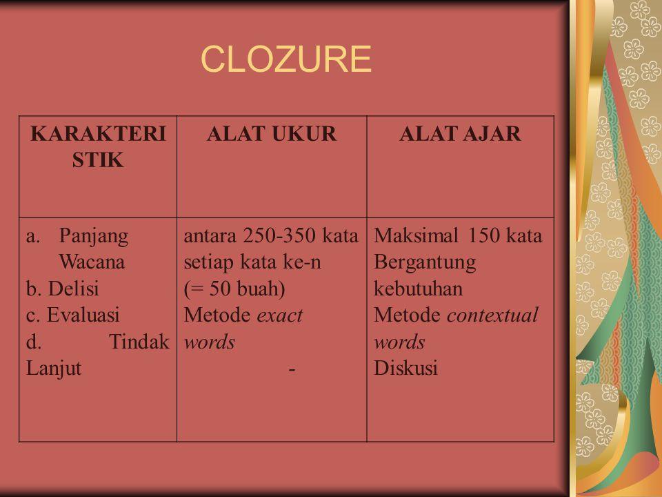 CLOZURE KARAKTERISTIK ALAT UKUR ALAT AJAR Panjang Wacana b. Delisi